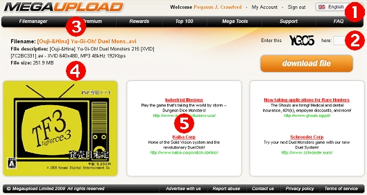 First MegaUpload screen