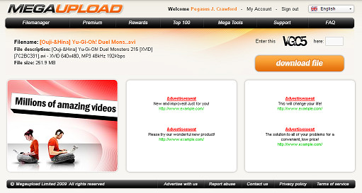 Screenshot of the new MegaUpload