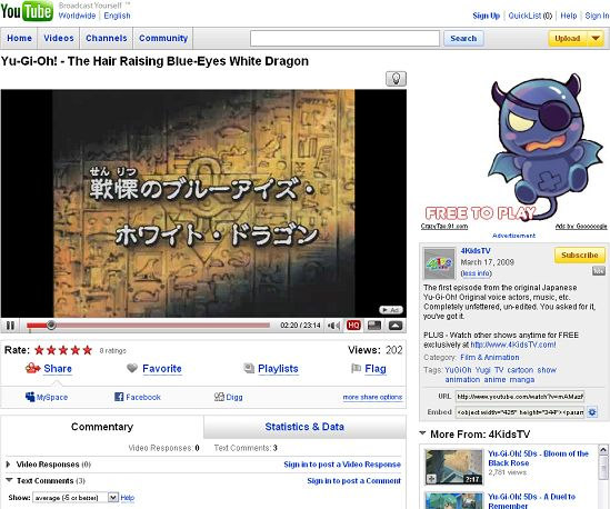 Japanese YGO DM episode 1 on YouTube by 4Kids