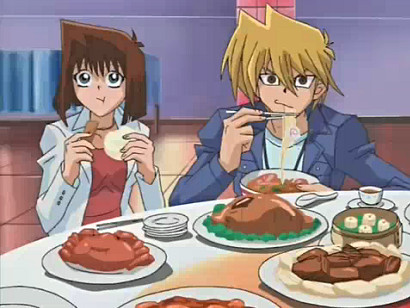 Anzu and Jounouchi having a feast and watching a duel in episode 193