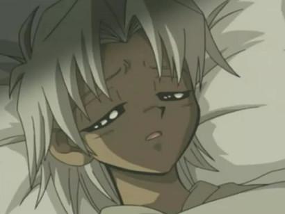 Screenshot of a sick little Marik from Little Kuriboh's video Hiatus