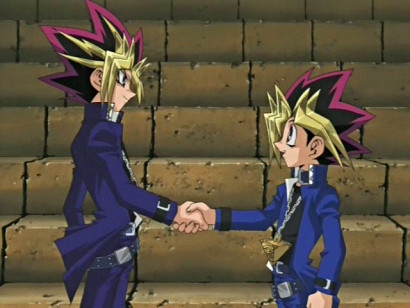 Atem and Yuugi shaking hands in episode 96