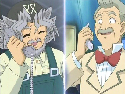 Sugoroku Mutou and Arthur Hopkins on the phone in episode 188