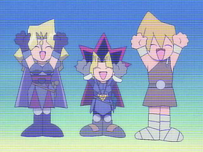 Mai, Yuugi, and Jounouchi celebrating from within Kaiba's virtual game in episode 45