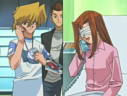 Jounouchi and Shizuka talking on the phone in episode 70