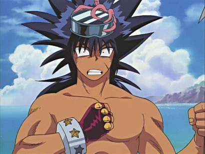 Ryouta Kajiki with an octopus on his head in episode 7