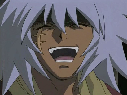 Bakura, the King of Thieves, with a big smile on his face in episode 208