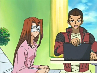 Shizuka and Honda on a computer in episode 58