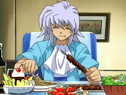Bakura munching on some delicious food in episode 220