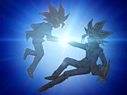 Yuugi and Atem discover the power of shaking hands in episode 118