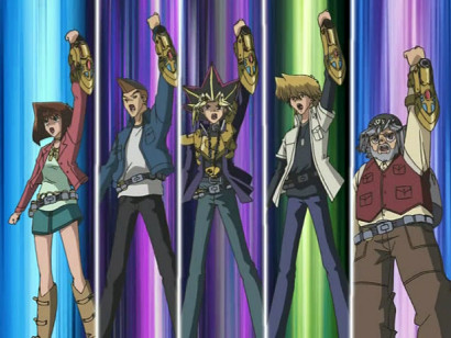 Yugi and the gang strike a pose as they load their capsules in Capsule Monsters episode 11