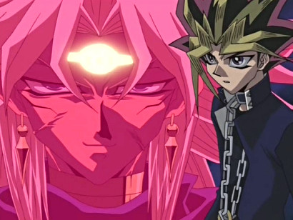Yuugi wondering what strategy Yami Malik has up his sleeve in episode 127