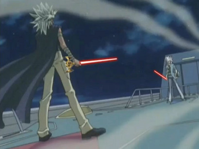 Wielding lightsabers, Melvin and Bakura prepare to duel in YGOTAS episode 45
