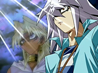 Marik and Bakura, moments before they are blown away in episode 97/YGOTAS episode 46