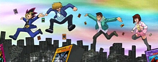 Yugi and friends frolicking through huge stacks of cards in episode 148