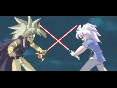 Melvin and Bakura in an ancient Egyptian lightsaber duel in YGOTAS episode 46