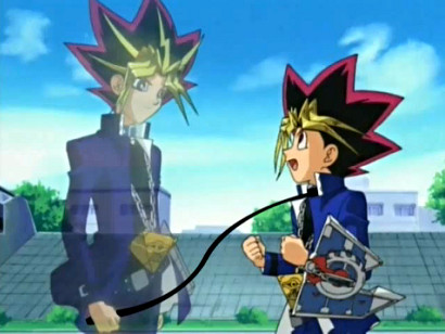 Yami, along with Yugi on a leash, in LK's adaptation of What Would Yugi Do