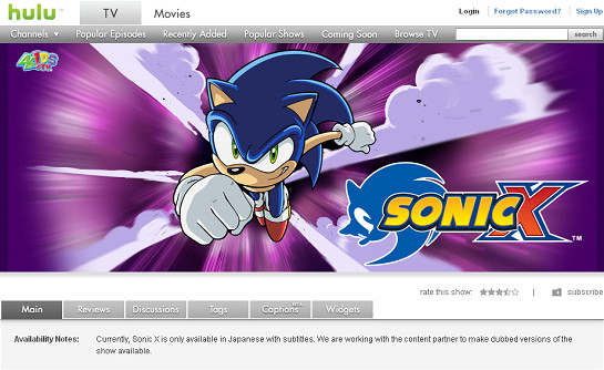 Japanese episodes of Sonic X on Hulu