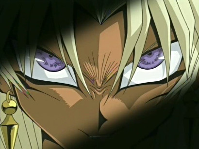 Marik glaring evilly as Slifer the Sky Dragon is summoned in episode 66