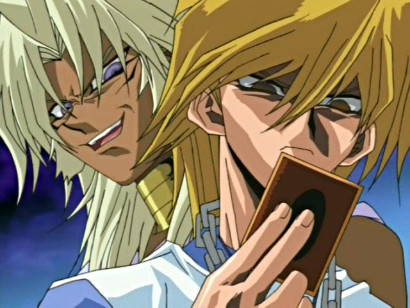 Marik giving orders to a brainwashed Joey in episode 77