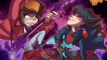 Jaden and Yusei in the 10th anniversary abridged movie poster
