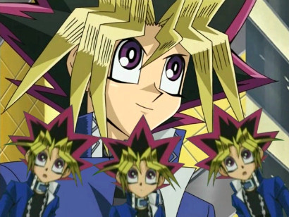 Yugi and his backup vocalists in a rap battle against Jaden