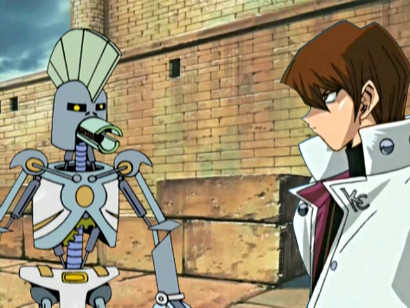 The Cybernetic Ghost of Christmas Past from the Future revealing the truth to Kaiba