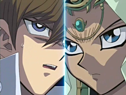 Kaiba facing off against Ishizu in episode 94