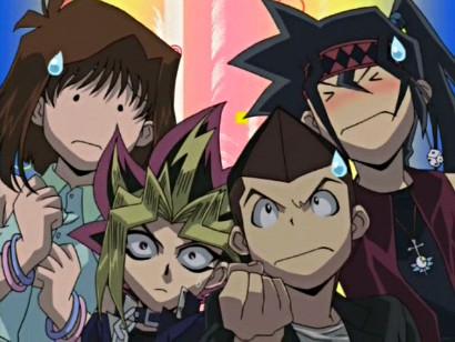 Tea, Yugi, Tristan, and Duke's reaction after Joey attacks Marik in episode 127