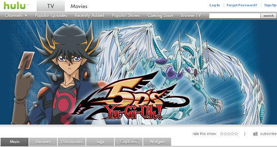 The Yu-Gi-Oh! 5D's page on Hulu