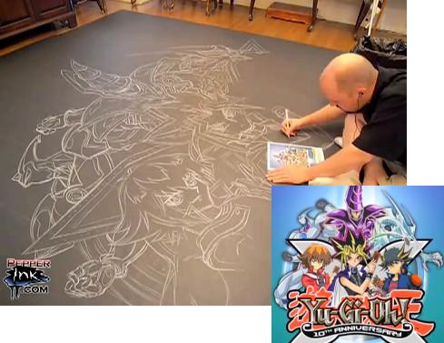 Eric Maruscak's Yu-Gi-Oh! chalk mural sketch in progress