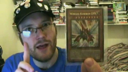 Little Kuriboh holding up Winged Kuriboh LV9 in his video Card Games For Charity #3