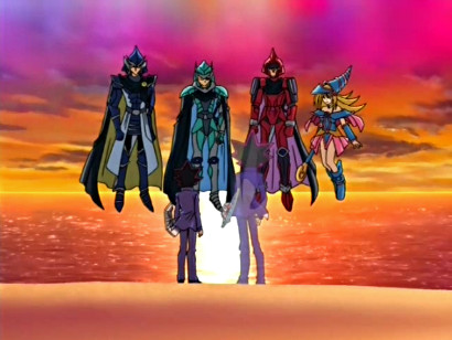 Yugi, Yami, the three Legendary Knights, and Dark Magician Girl against a sunset backdrop in episode 184