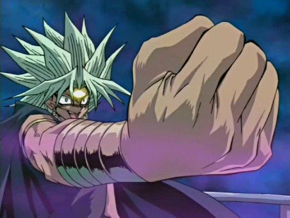 Marik gesturing dramatically as he wipes away Mai's memories of her friends in episode 91