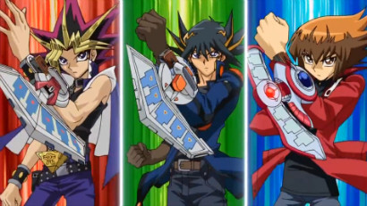 Yugi, Yusei, and Jaden powering up their Duel Disks
