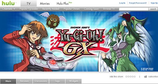 The Yu-Gi-Oh! GX page on Hulu