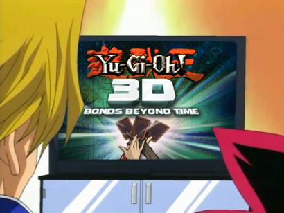 Joey, Yugi, and their friends watch a video from Pegasus about the Yu-Gi-Oh! 3D movie