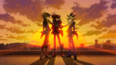Yusei, Jaden, and Yugi -- the three heroes team up in Yu-Gi-Oh! 3D: Bonds Beyond Time