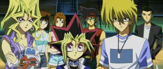 Mai, Yugi, Joey, and the gang awaiting the Battle City Finals in episode 81