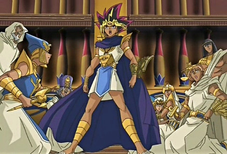 The pharaoh speaking out against Bakura's assault of his sacred court in episode 202