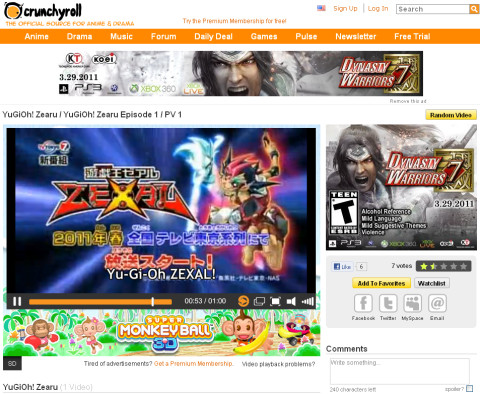 Screenshot of the Yu-Gi-Oh! Zexal trailer playing on Crunchyroll