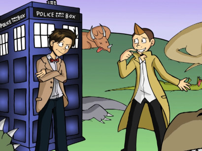 Tristan killed the dinosaurs. Dr. Who is not pleased. From LK's video A Brief History of Tristan