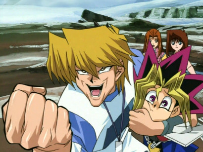 Joey cheering as Kaiba apparently gets the upper hand in a duel against Noah in episode 115