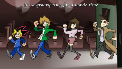 Yugi, Joey, Tea, and Tristan in the Yu-Gi-Oh! Bonds Beyond Time Abridged movie opening, by CrikeyDave
