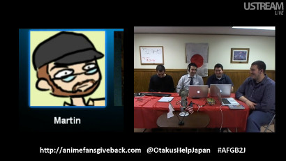 Screenshot from the Anime Fans Give Back To Japan 2012 live podcast