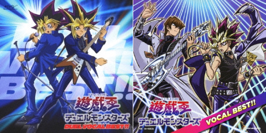 Album covers of the 2005 Yu-Gi-Oh! Duel Monsters Duel Vocal Best!! and 2012 Yu-Gi-Oh! Duel Monsters Vocal Best!! CDs