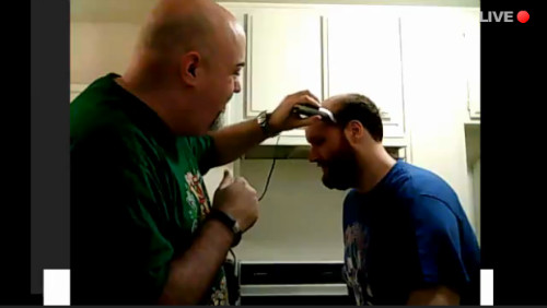 Little Kuriboh having his head shaved by Kyle Hebert