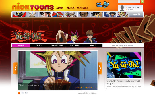 The official Yu-Gi-Oh! page on Nicktoons' website, captured in early January