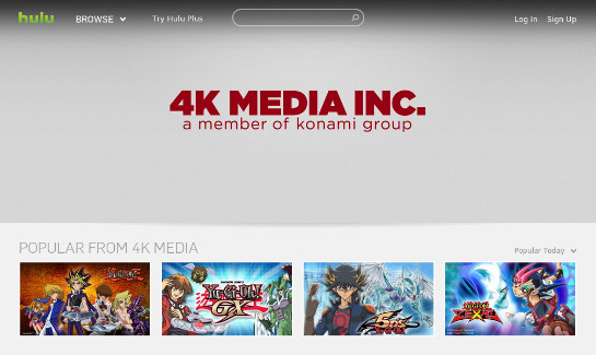 The webpage for 4K Media Inc. on Hulu in early March 2013