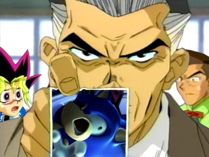 Yugi, Tristan, and Detective Grey with a photo of Tatsu The Hedgehog in YGOTAS Season 0 episode 3